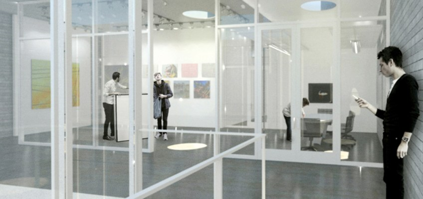 Entry to E/STUDIO client and project areas. Rendering by James Dayton Design. Photo courtesy MCAD.