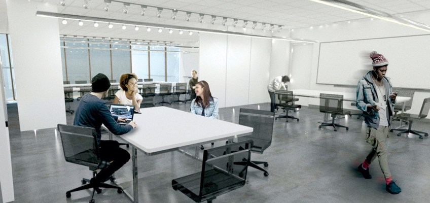 Combined E/STUDIO classroom space with capability to transform into two smart classrooms. Rendering by James Dayton Design. Photo courtesy MCAD.