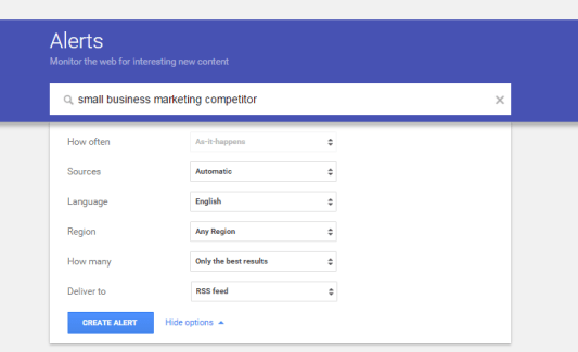 Google Alerts for Competitor Analysis