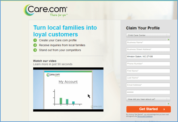 Care dot Com Business Partner Page