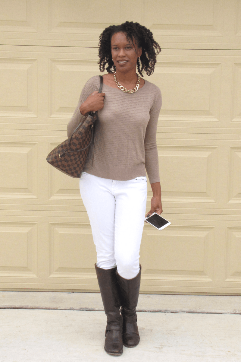 forever21 blouse and Marshall's white pants