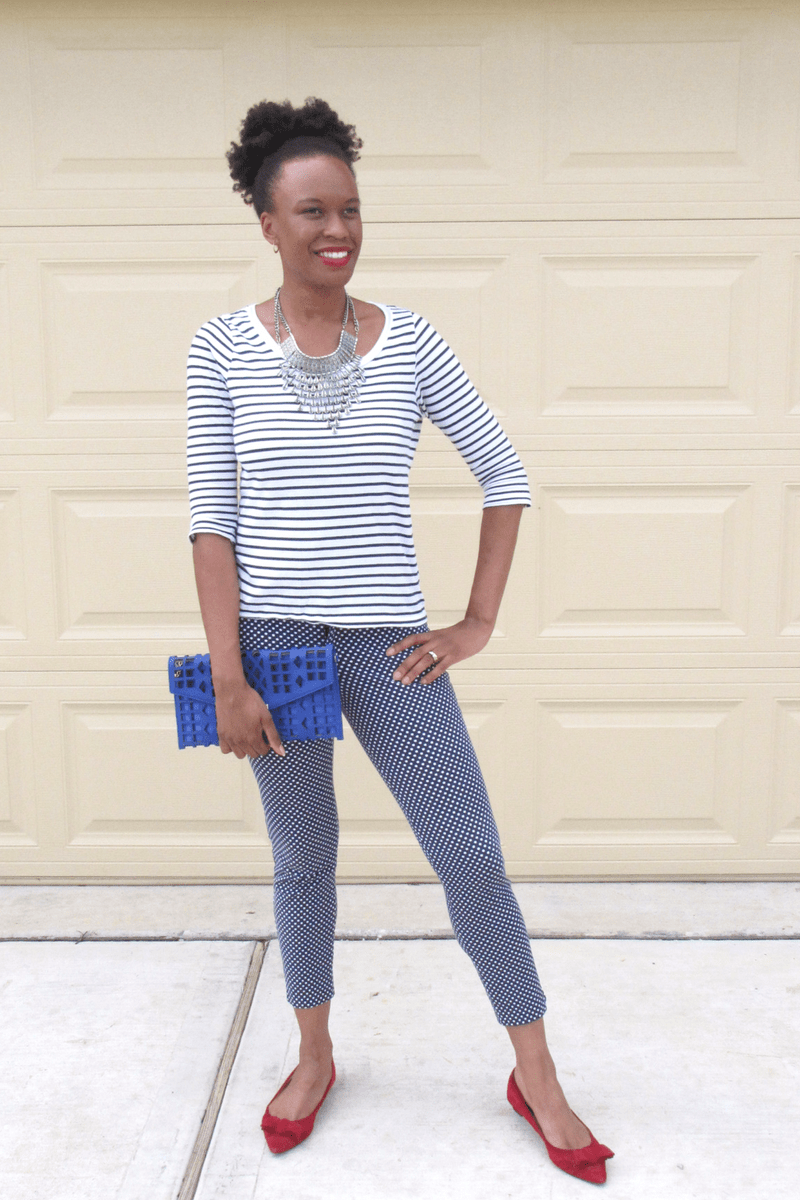 zara stripe top and old navy pants