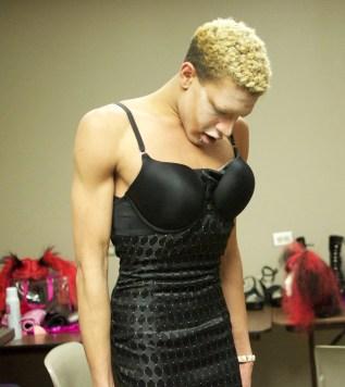 Avon M. Larouxx gets dressed up for the Drag Show Feb. 14 at the Tivoli Turnhalle. Photo by Ryan Borthick ¥ rborthic@msudenver.edu