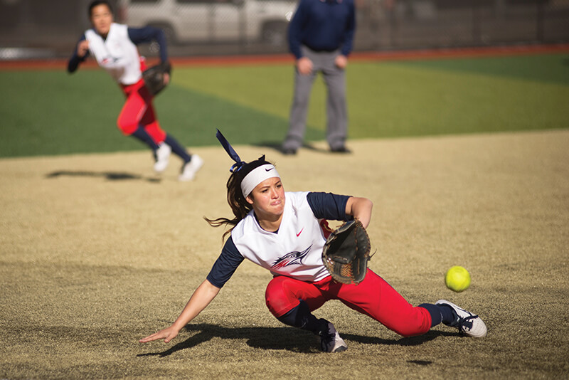 Junior second baseman Brooke Lovas fields a ground ball against Adams State at The Regency Athletic Complex Feb. 20 in the first game of the doubleheader. Photo by Abreham Gebreegziabher • agebreeg@msudenver.edu