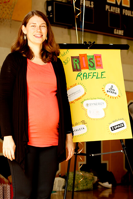Lila Singh, founder and executive director of RISE Yoga for Youth on Saturday March 19, 2016 at Mission High School. Photo by Heather Pastorius/ hpastori@msudenver.edu