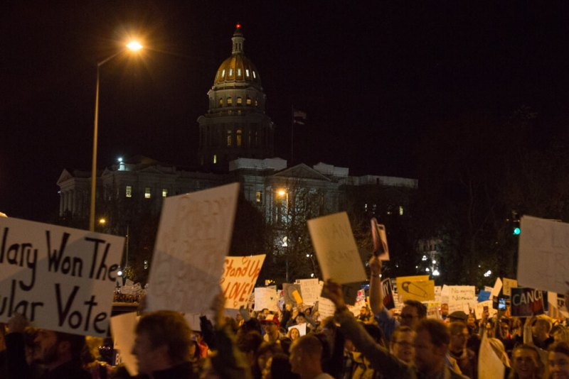 Thursday, November 10th at 5:30pm, an estimated of 4.9 thousand protestors gathered outside the Colorado State Capitol march through downtown Denver.