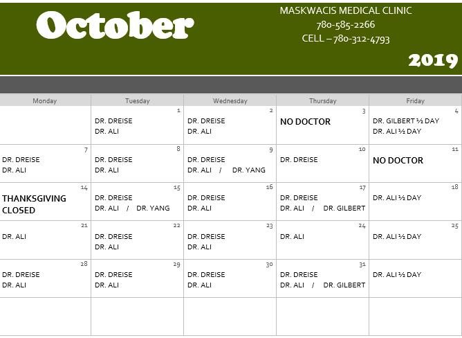 October Medical Calendar