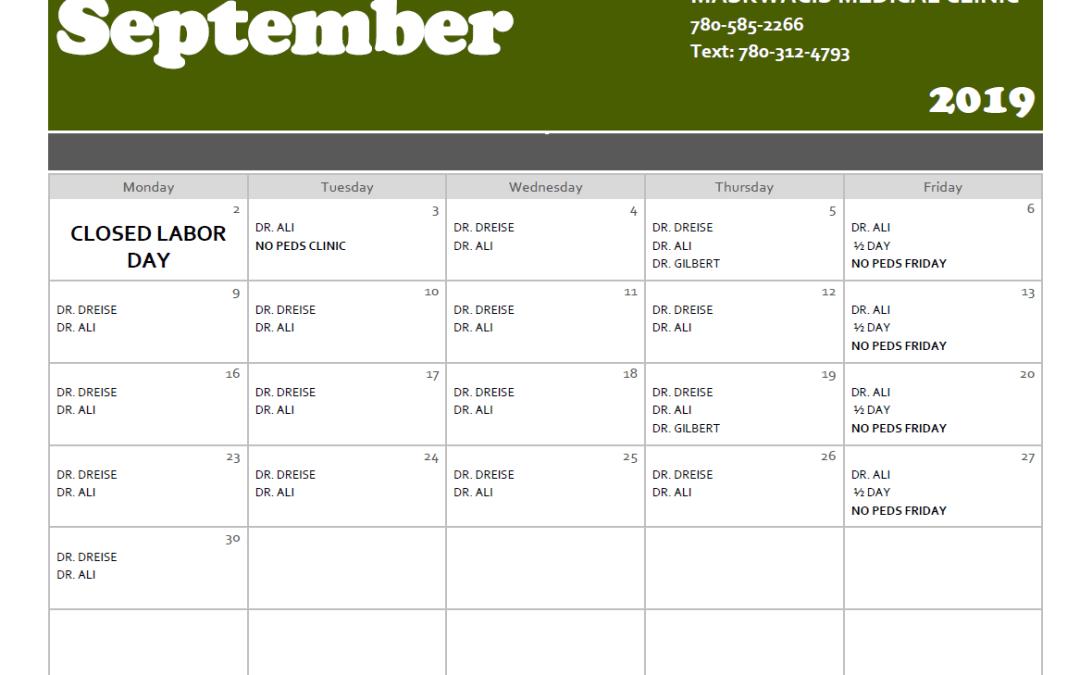 Sept. 2019 Medical Calendar