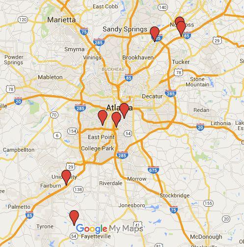 Map of Atlanta Movie Studio Locations