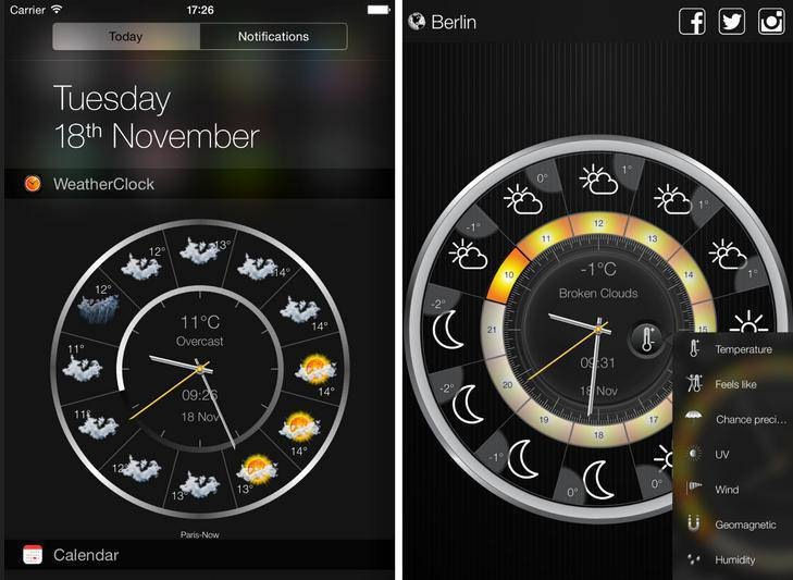 Free Weather App and Clock for iOS 7