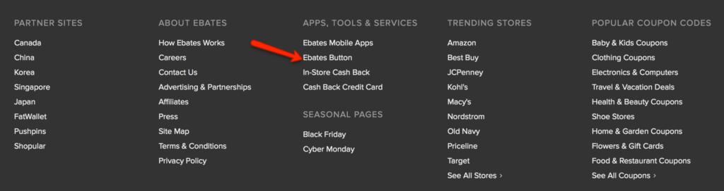 ebates cash back button