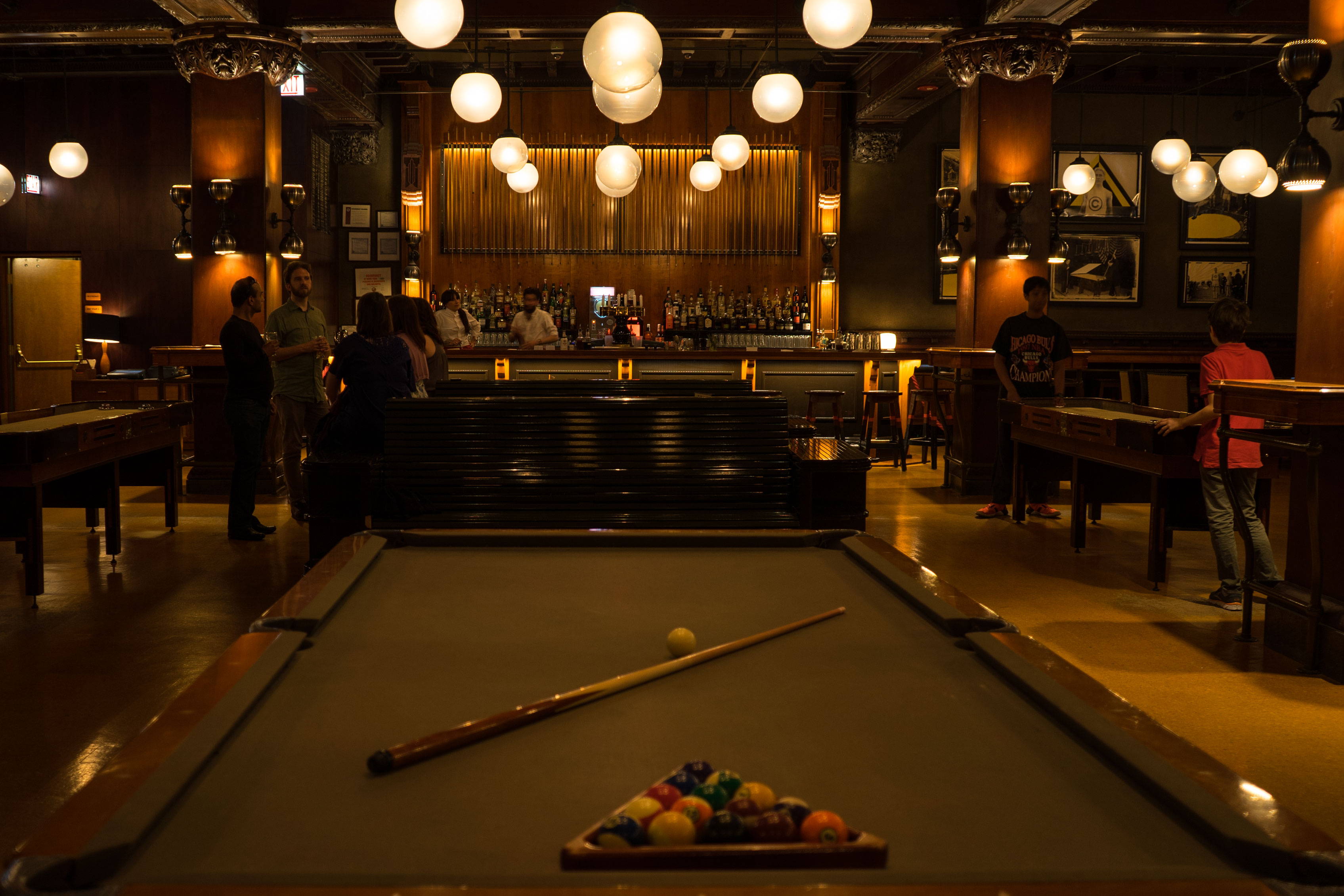 Billiards tables in the Chicago Athletic Association Hotel Game Room