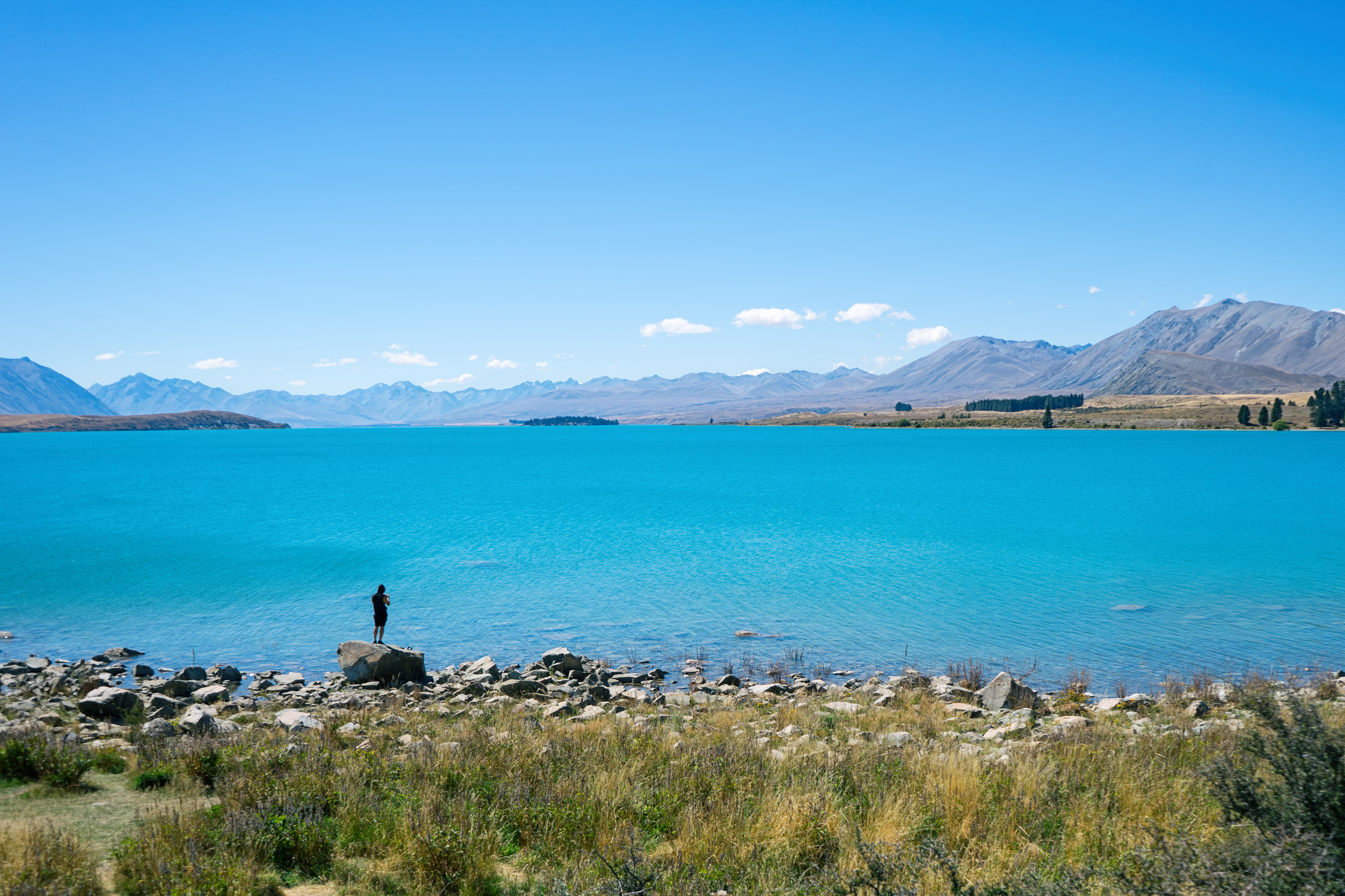 Lake Tekapo Man Standing On Rock