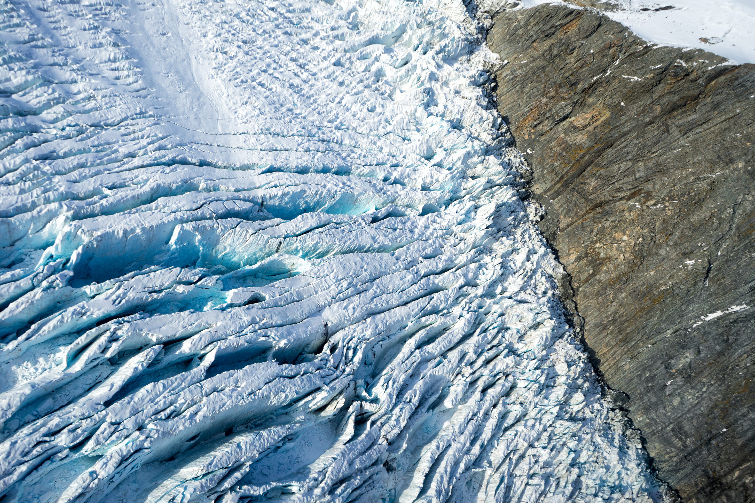 Southern Alps From Above Glacier Crevasses