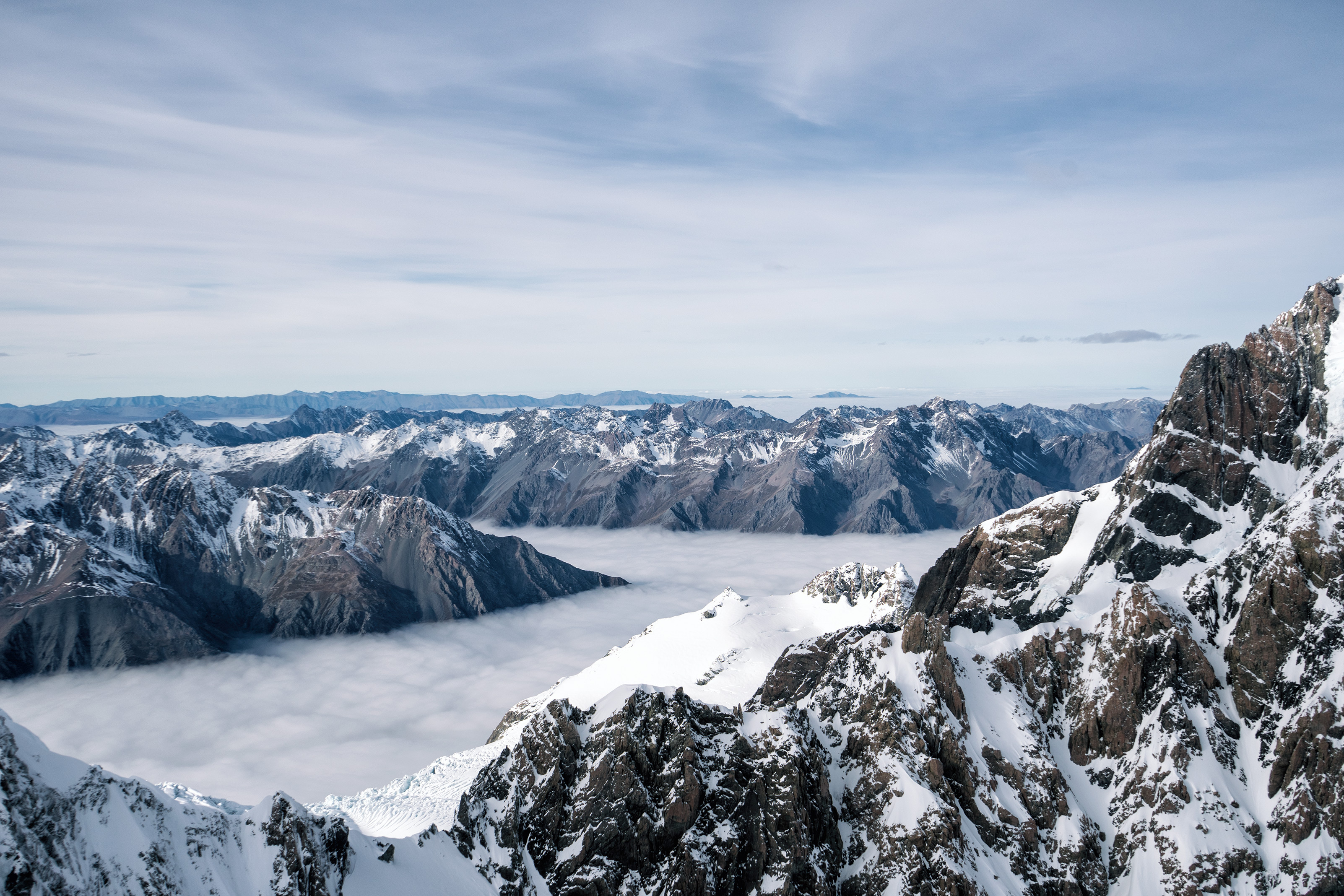 Southern Alps From Above Mountains And Clouds View