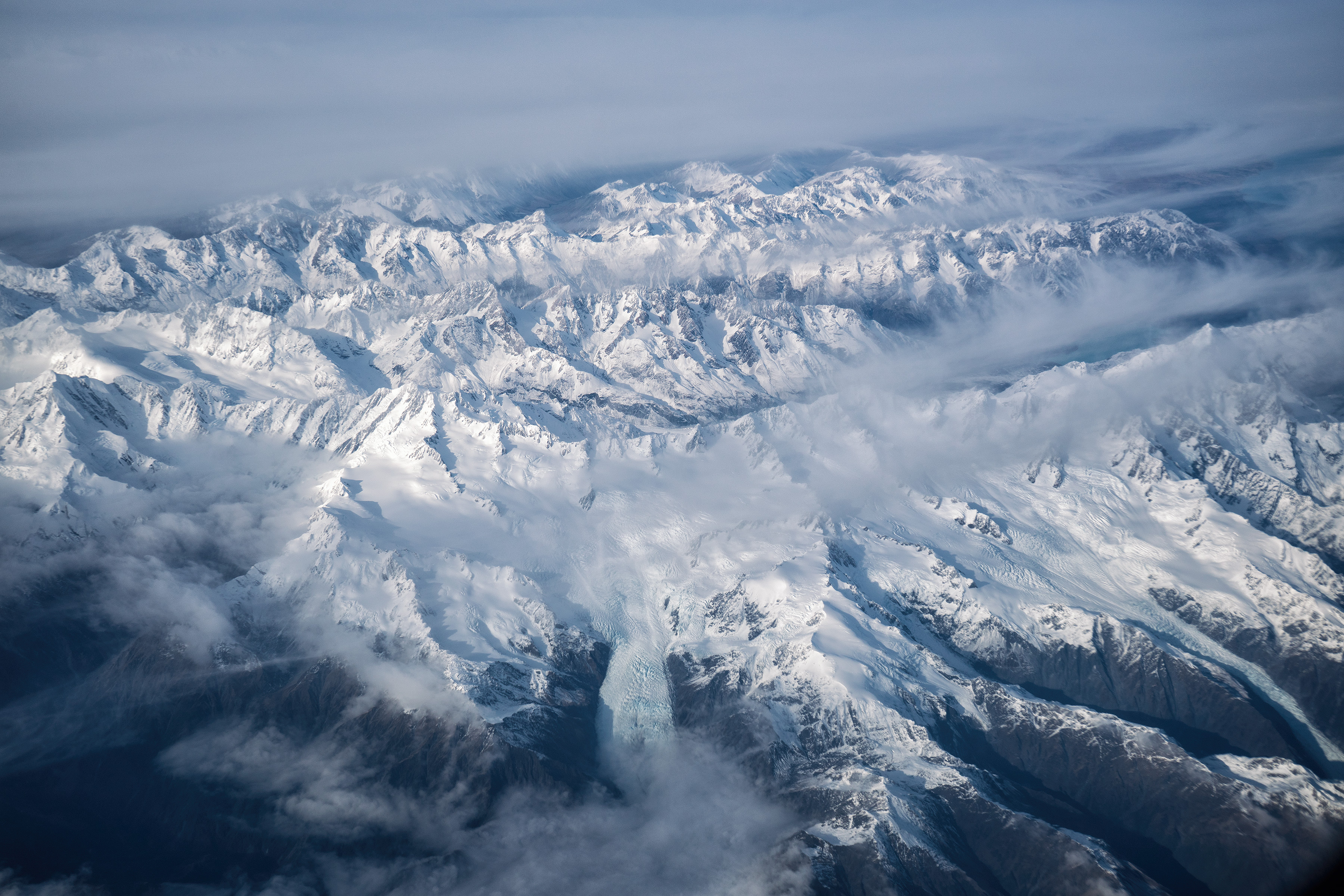 Southern Alps From Above View From Plane Franz And Fox Glaciers View