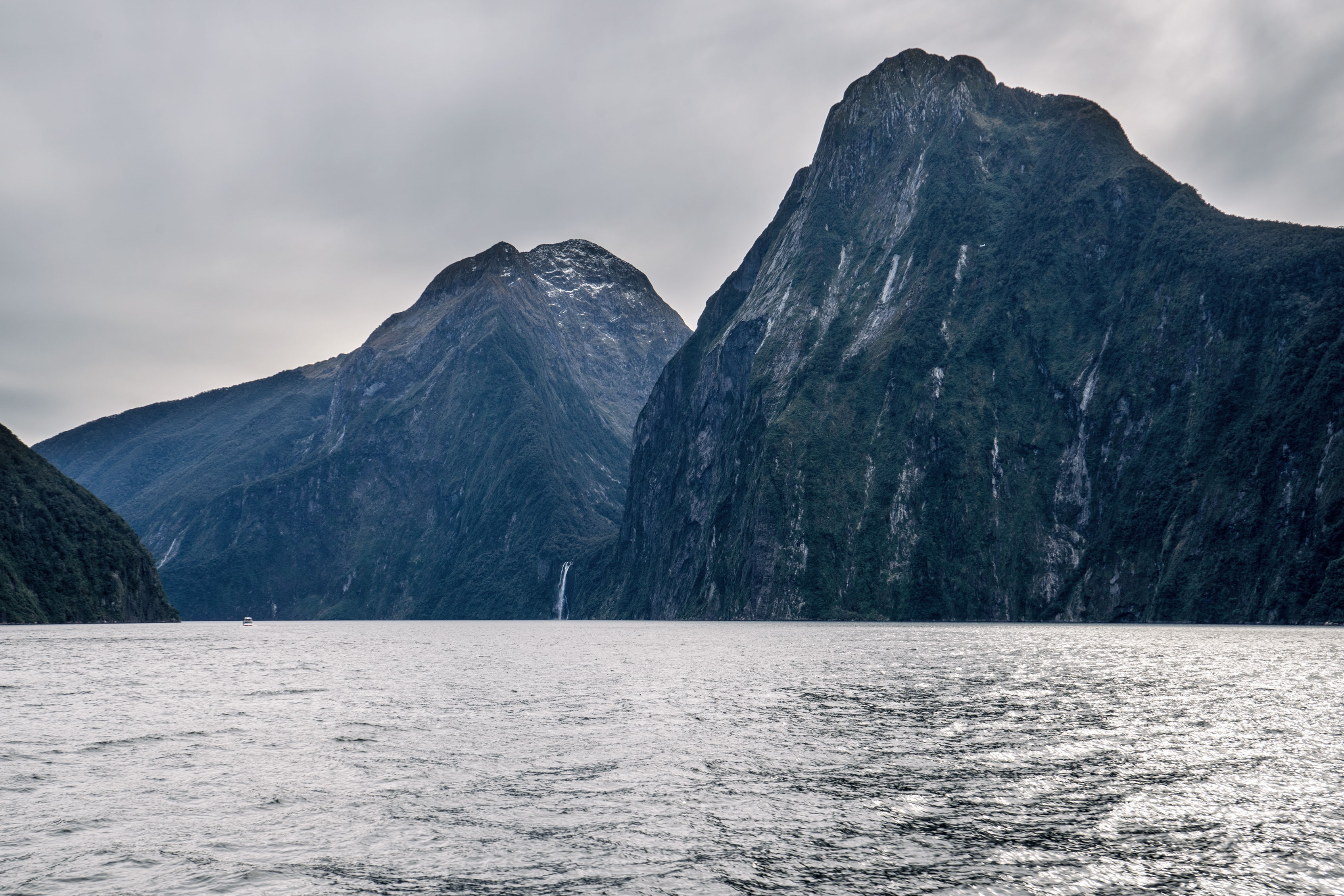 Milford Sound The Lion Mountain And Stirling Falls View From Distance