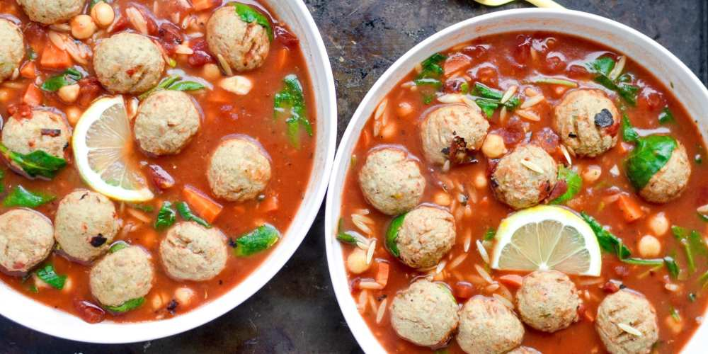 Slow Cooker Mediterranean Soup with Turkey Meatballs