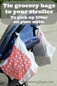 going green pick up litter stroller walking walks going on a walk with children recycle plastic bags
