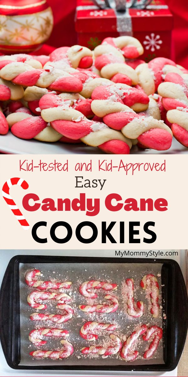 Festive Candy Cane Cookies are a Christmas tradition must have recipe. These have easy to follow directions and they are a kid's favorite! #candycanecookies #christmascookies #candycanecookiesrecipe via @mymommystyle