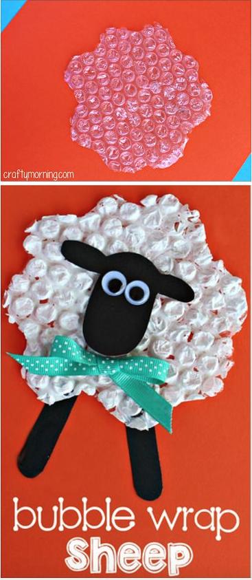 Bubble wrap art of white sheep.
