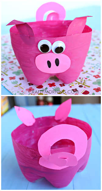 Recycled art projects of pink pig made from 2L bottles.