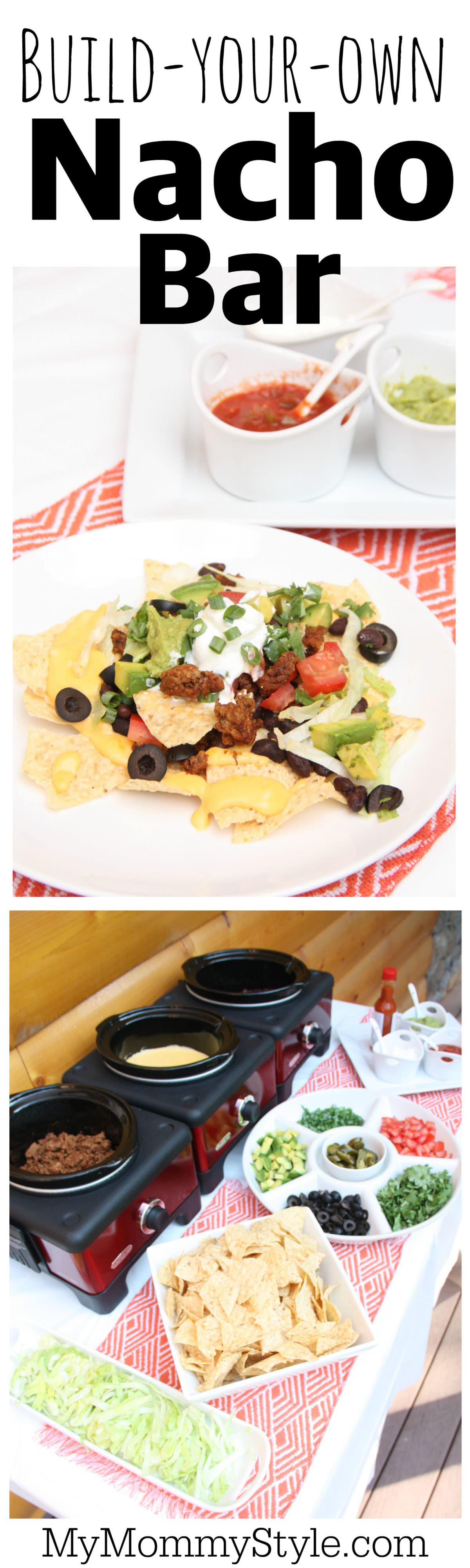 Build-Your-Own Nacho Bar is such a fun and colorful way to feed a crowd. Add or don't add what ever you want to create your own nacho masterpiece. via @mymommystyle