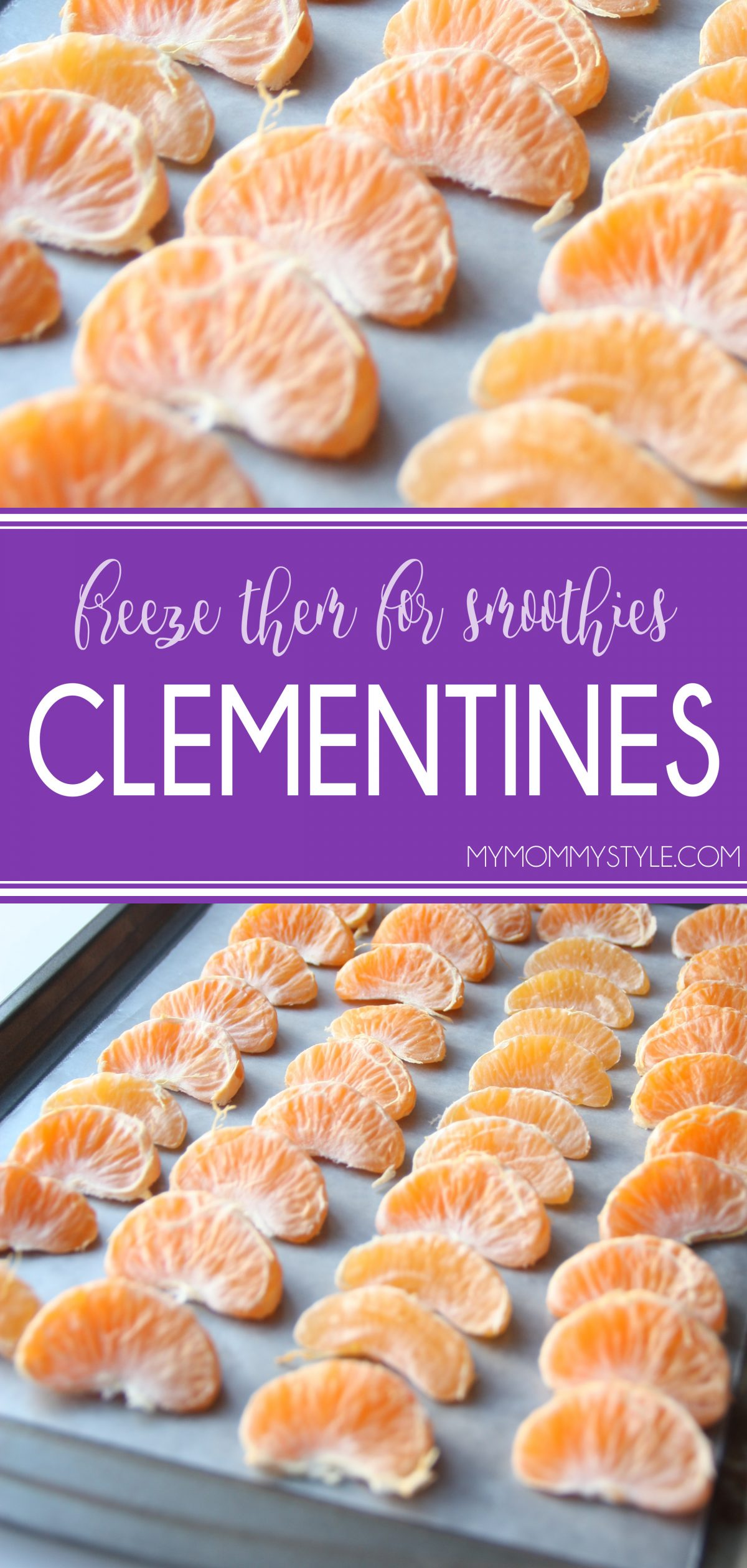 Can you freeze clementines to use later for smoothies? You bet you can! Learn how to freeze clementines here. No more wasted food! via @mymommystyle