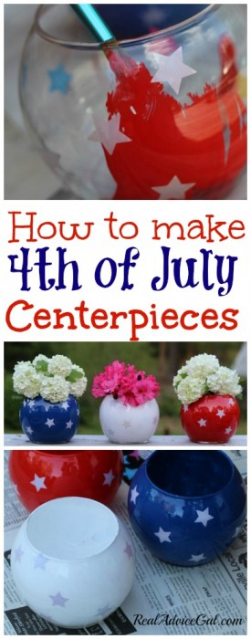 painted 4th of july centerpieces