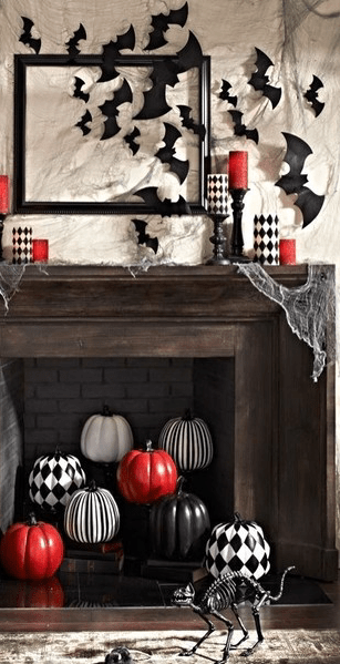 Black, white and red Halloween Mantel decor.