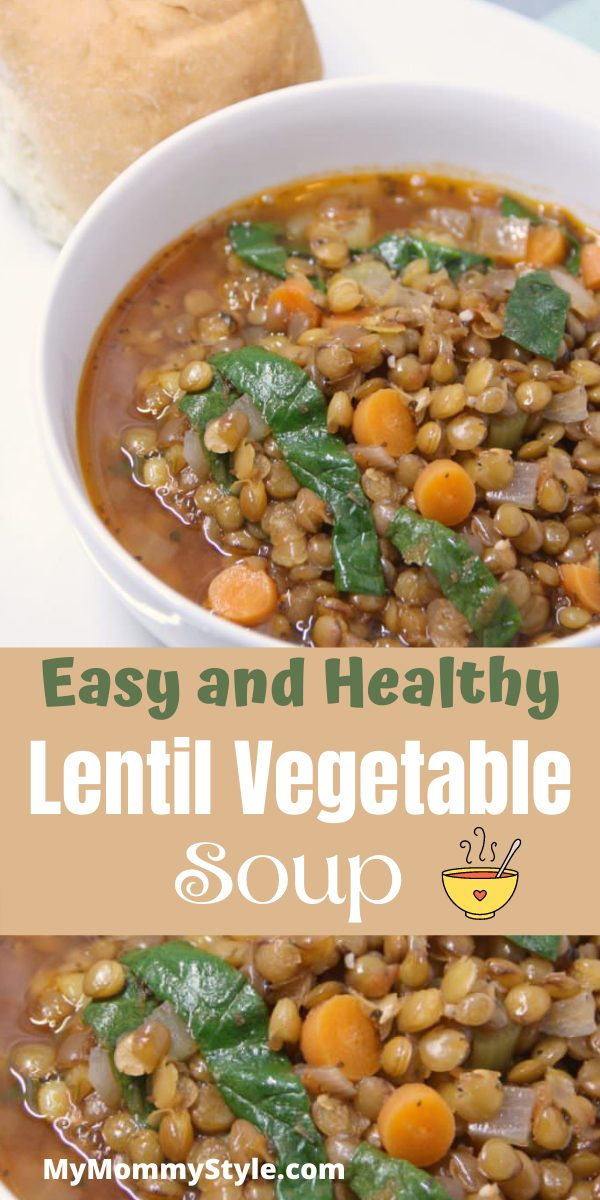 Healthy lentil vegetable soup is full of flavor and easy to make. Everyone will love this filling, gluten free and vegetarian soup. #lentilvegetablesoup #bestlentilsouprecipe #healthydinner #healthysoup via @mymommystyle