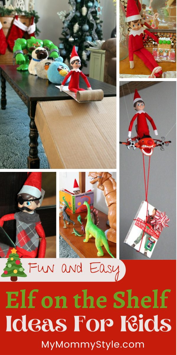 Elf on the Shelf is a magical way to have some fun leading up to Christmas. Here are some simple and creative Elf on the Shelf Ideas for kids. #elfontheshelfideasforkids #elfontheshelfideas #elfontheshelf #lastminuteelfontheshelfideas via @mymommystyle
