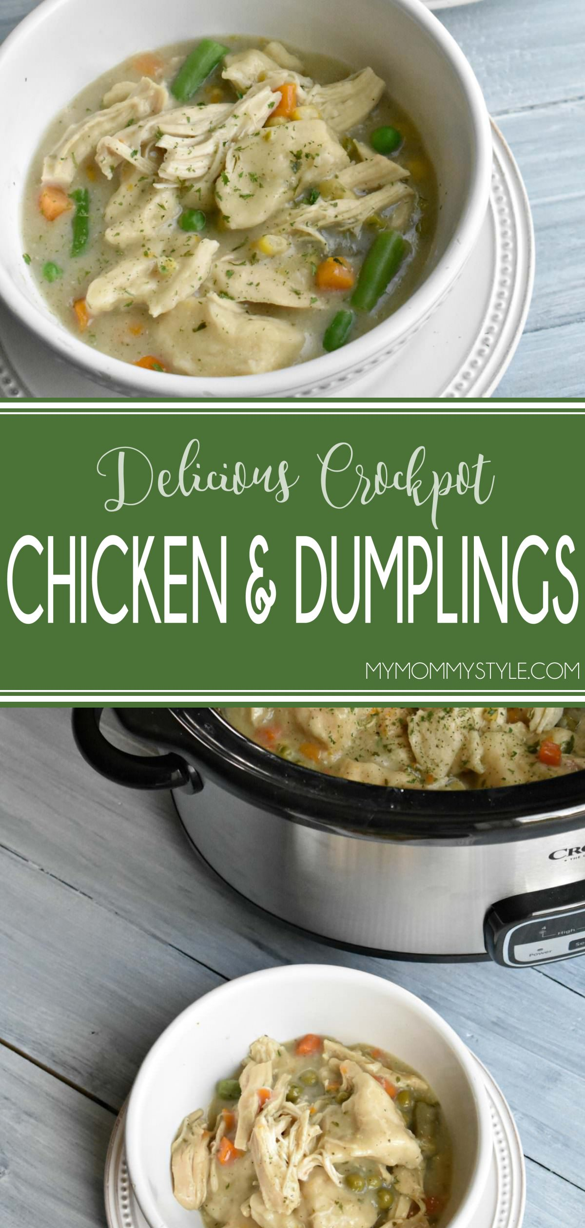 This Crockpot chicken and dumplings recipe was so easy to throw together and it made my house smell so good as it cooked all day. This is one of those slow cooker recipes where you just throw everything in there and let it cook all day. There is some prep to do at the end with shredding the chicken and adding the dumplings, but it adds 5 minutes to the total time. via @mymommystyle