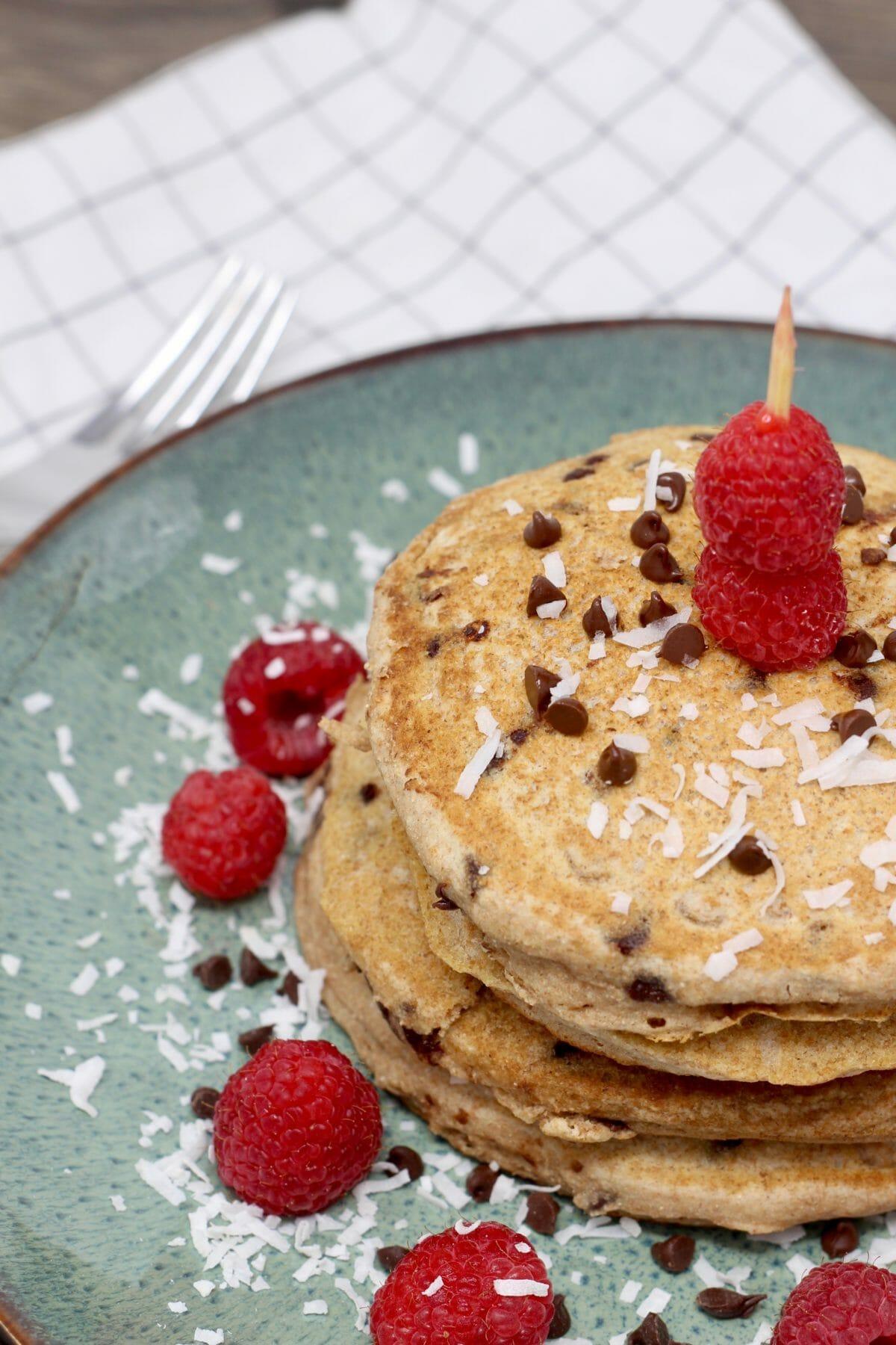 Dairy Free Whole Wheat Chocolate Raspberry Pancakes, dairy free, pancakes