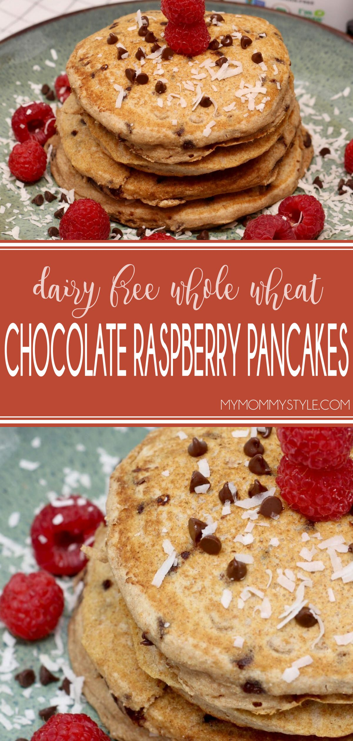 Pancakes worth waking up for, these Dairy Free Whole Wheat Chocolate Raspberry Pancakes are an incredible way to start your day. via @mymommystyle