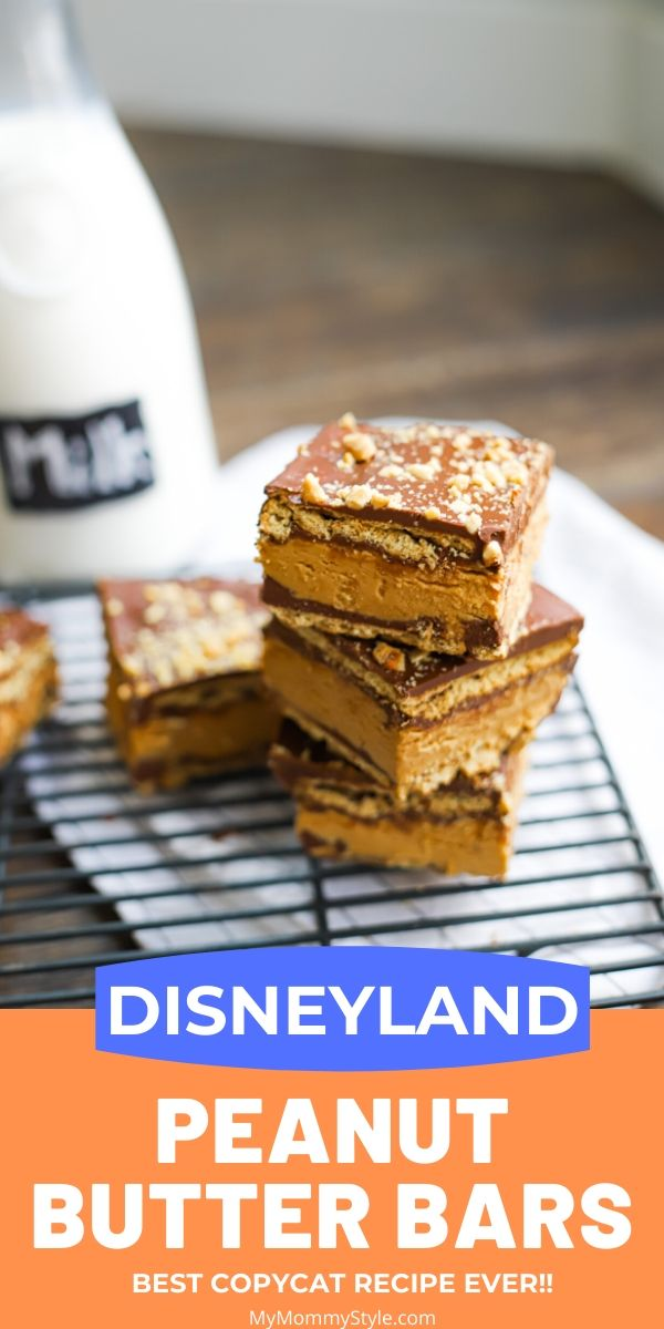 These Disneyland Peanut Butter Bars will bring the magic of Disney into your own home. No bake, so they are easy to make. Graham crackers, layers of chocolate, and peanut butter goodness that will satisfy any sweet tooth! #Disneyrecipes #disneyrecipe #disneyland via @mymommystyle