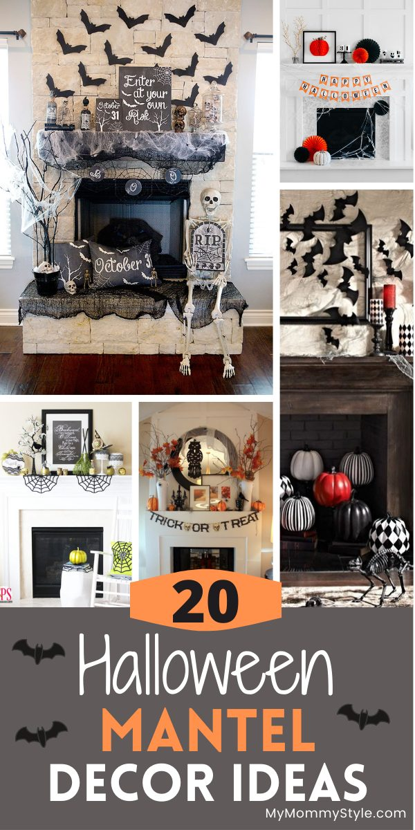 Make your home spooky and fun with this round up of twenty ideas for Halloween mantel decor. Mix and match to make it your own. #Halloweenmanteldecor #Halloweendecoratingideas via @mymommystyle