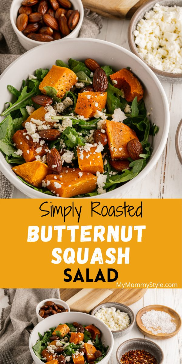 Butternut Squash Salad is light, colorful and delicious. It's served on a bed of arugula and drizzled with an orange vinaigrette dressing. #butternutsquashsalad #roastedbutternutsquashsalad #butternutsquashfetasalad via @mymommystyle