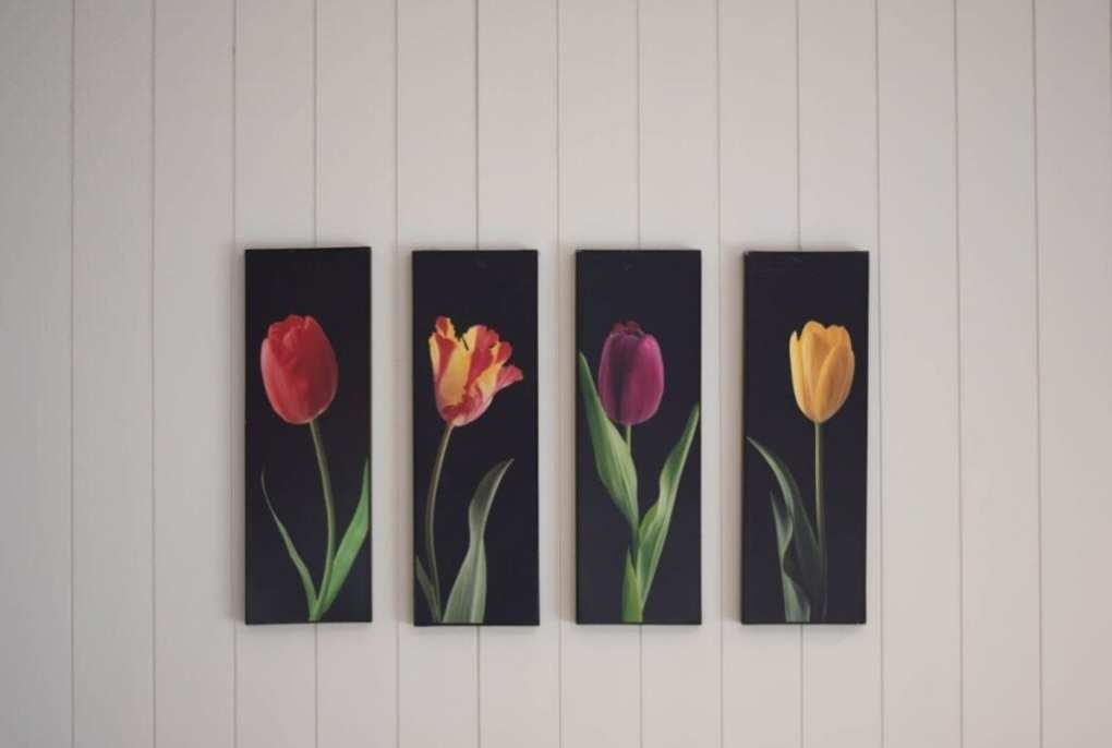 Flower panel paintings hanging on white wall