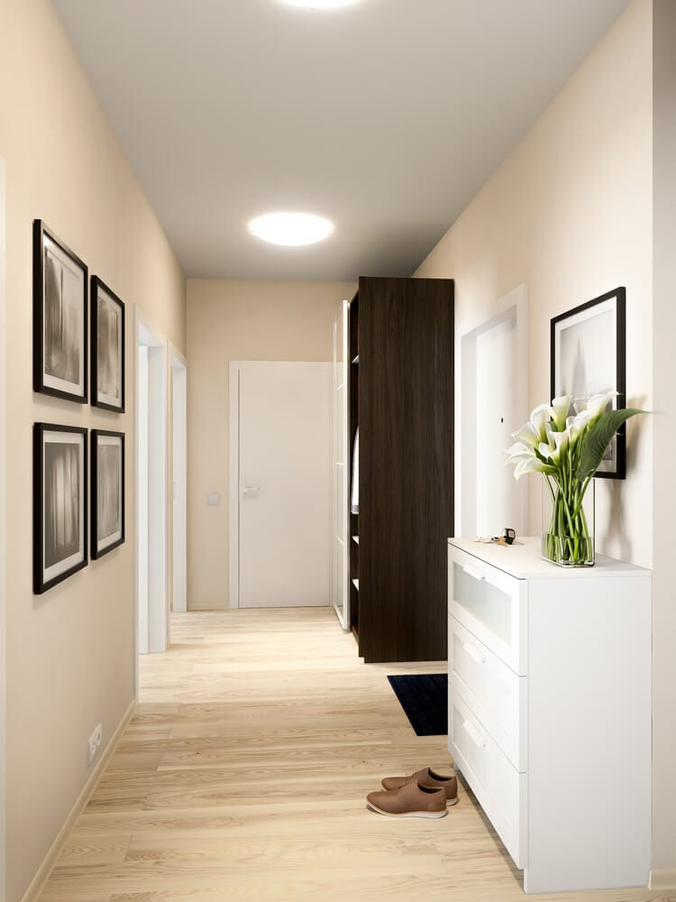 Bright hallway with beige walls in contemporary style