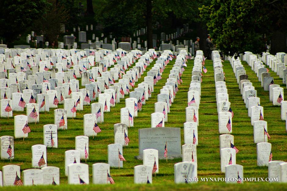 Tombs in Arlington Cemetery during Memorial Day Weekend