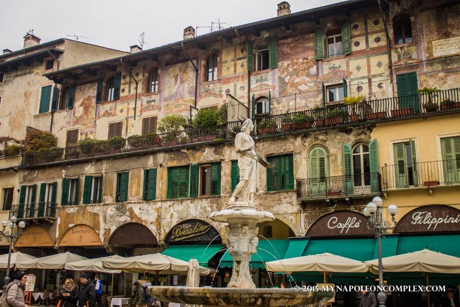 Picture of the fountain in Piazza delle Erbe, Verona, Italy