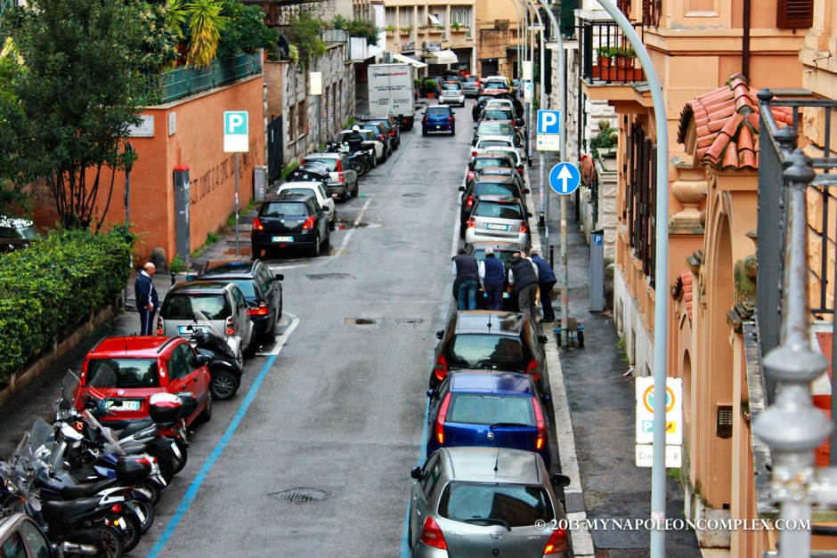 Here you see them moving the car. When in Rome! (finding an apartment in rome)