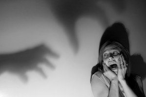 woman scream fear shadow