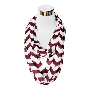 BAXBO Women's Jersey Infinity Novelty Flask Scarf (Hidden 8 Ounce Bladder) Chevron Maroon White