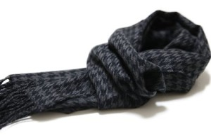 Houndstooth Soft Wool Touch Tassel Ends Scarf
