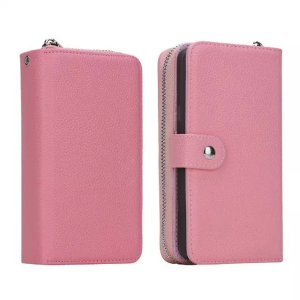 Note 5 Case,CASY MALL Magnetic Zip Flip Leather Wallet Case with Removable Slim TPU Back Cover for Sumsung Galaxy Note 5 Pink