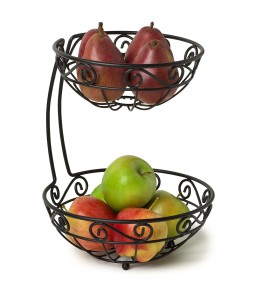 Spectrum 46810 Scroll Arched 2-Tier Fruit Server, Black