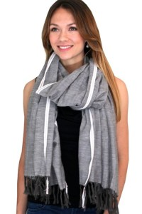 Women's Mendoza Red Stripe Selvedge Gray Fashion Scarf - Long Tassels Shawl Wrap