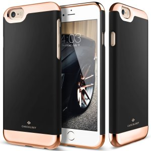iPhone 6S Case, Caseology® [Savoy Series] [Black] Dual Layer Slider Soft Interior Cover [Premium Rose Gold Case] for Apple iPhone 6S (2015)